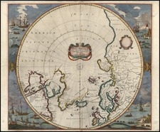 Northern Hemisphere and Polar Maps Map By Henricus Hondius