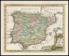 Europe, Spain and Portugal Map By Thomas Jefferys