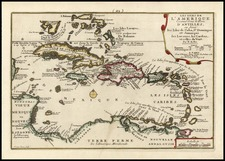 Southeast, Caribbean, Central America and South America Map By Nicolas de Fer
