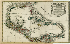 South, Southeast, Caribbean and Central America Map By Jean-Baptiste Bourguignon d'Anville