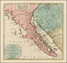 Mexico, Baja California and California Map By Isaak Tirion