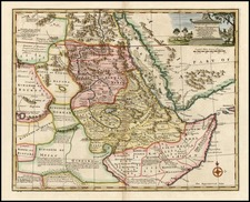 Asia, Middle East, Africa, North Africa and East Africa Map By Emanuel Bowen