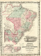 South America Map By Benjamin P Ward  &  Alvin Jewett Johnson