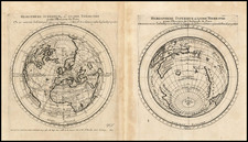 World, World, Northern Hemisphere, Southern Hemisphere and Polar Maps Map By Pierre Moullart Sanson