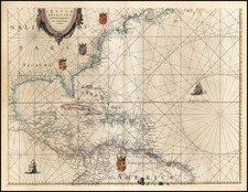 Mid-Atlantic, Southeast and Caribbean Map By Willem Janszoon Blaeu