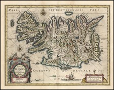 World, Atlantic Ocean, Europe, Iceland and Balearic Islands Map By Willem Janszoon Blaeu