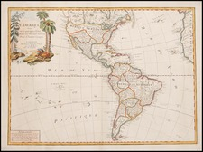 South America and America Map By Paolo Santini / Giovanni Antonio Remondini