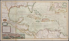 Southeast, Texas, Caribbean and Central America Map By Hermann Moll
