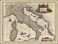 Europe, Italy and Balearic Islands Map By Willem Janszoon Blaeu