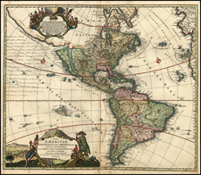 World, Western Hemisphere, South America and America Map By Johann Baptist Homann