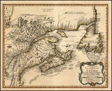 New England and Canada Map By Homann Heirs / Jacques Nicolas Bellin