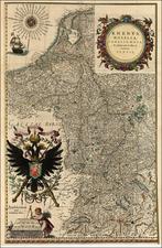 Europe, Netherlands, Switzerland, Germany, Austria and Hungary Map By Willem Janszoon Blaeu