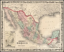 Southwest and Mexico Map By Alvin Jewett Johnson  &  Browning