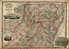 Mid-Atlantic and Southeast Map By Benjamin P Ward / Alvin Jewett Johnson