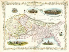 Asia, India and Central Asia & Caucasus Map By John Tallis