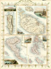 Europe, Mediterranean, Balearic Islands and Africa Map By John Tallis