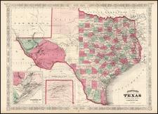 Texas Map By Alvin Jewett Johnson
