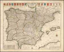 Europe, Spain and Portugal Map By Nicolas de Fer / Guillaume Danet