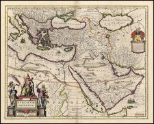 Europe, Turkey, Mediterranean, Asia, Middle East and Turkey & Asia Minor Map By Willem Janszoon Blaeu
