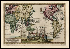 World, World and Pacific Map By Pieter van der Aa