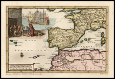 Europe, Spain, Mediterranean, Africa, North Africa and Balearic Islands Map By Pieter van der Aa