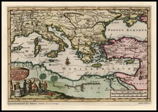 Europe, Italy, Greece, Turkey, Mediterranean, Balearic Islands, Asia and Turkey & Asia Minor Map By Pieter van der Aa