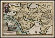 Asia, India, Central Asia & Caucasus and Turkey & Asia Minor Map By Pieter van der Aa