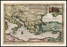 Europe, Balkans, Italy, Turkey, Mediterranean, Balearic Islands, Asia, Holy Land and Turkey & Asia Minor Map By Pieter van der Aa