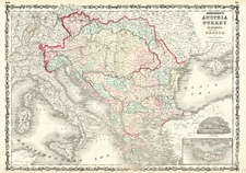 Europe, Hungary, Balkans, Greece and Turkey Map By Alvin Jewett Johnson  &  Browning