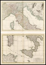 Europe and Italy Map By Giovanni Antonio Rizzi-Zannoni
