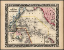 World, Australia & Oceania, Pacific and Oceania Map By Samuel Augustus Mitchell Jr.
