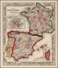 Europe, France, Spain and Portugal Map By Samuel Augustus Mitchell Jr.