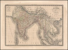 India, Southeast Asia and Philippines Map By Alexandre Emile Lapie