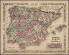 Europe, Spain and Portugal Map By Benjamin P Ward  &  Alvin Jewett Johnson