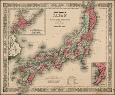 Asia and Japan Map By Benjamin P Ward  &  Alvin Jewett Johnson