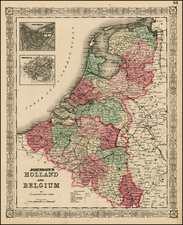 Europe and Netherlands Map By Alvin Jewett Johnson