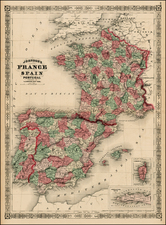Europe and France Map By Alvin Jewett Johnson