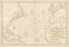 Atlantic Ocean, North America, Europe and Africa Map By William Faden