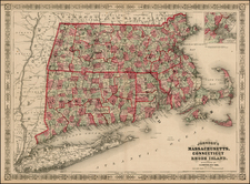 New England Map By Benjamin P Ward / Alvin Jewett Johnson