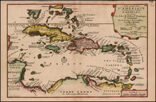 Caribbean, Central America and South America Map By Nicolas de Fer