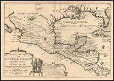 South, Texas, Southwest and Central America Map By Nicolas de Fer