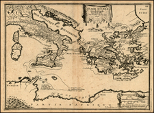 Italy, Greece, Mediterranean and Balearic Islands Map By Nicolas de Fer
