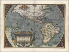 World, Western Hemisphere, South America and America Map By Abraham Ortelius