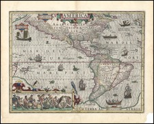 South America, Australia & Oceania, Australia, Oceania and America Map By Jodocus Hondius