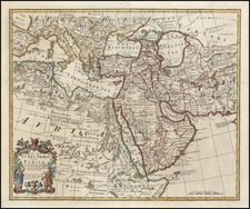 Asia, Central Asia & Caucasus, Middle East, Africa and North Africa Map By John Senex