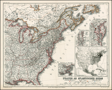 United States and Mid-Atlantic Map By E.G. Ravenstein