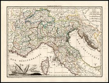 Europe, France and Italy Map By Conrad Malte-Brun