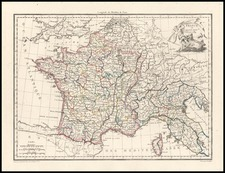 Europe, France, Italy and Balearic Islands Map By Conrad Malte-Brun
