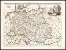 Europe and Germany Map By Conrad Malte-Brun