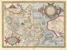 Asia, Japan, Central Asia & Caucasus and California Map By Abraham Ortelius